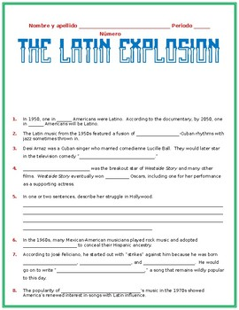 """""""The Latin Explosion"""" Guided Notes"""