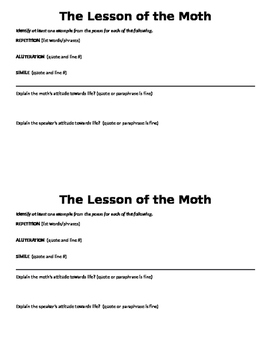 """The Lesson of the Moth"" figurative language and theme"