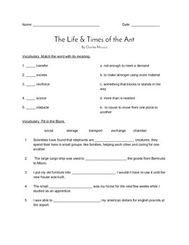"""""""The Life & Times of the Ant"""" QUIZ (Journeys Grade Four Reader)"""