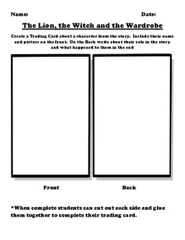 """The Lion, the Witch and the Wardrobe"" Trading Card Worksheet"