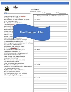 """The Listeners"" Poem Analysis Task Cards, Analysis Sheets  Common Core"