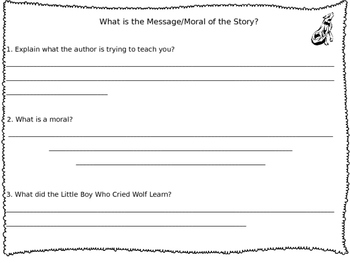"""""""The Little Boy Who Cried Wolf"""" Reading and Writing Packet"""