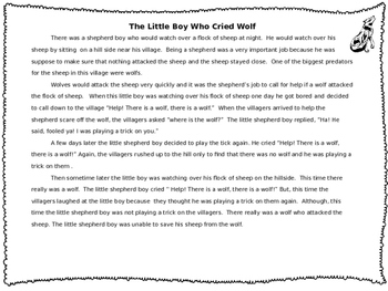 """The Little Boy Who Cried Wolf"" Reading and Writing Packet"