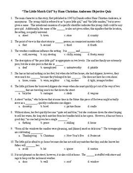 """The Little Match Girl"" by Hans C. Andersen Obj. Quiz & Crossword & Word Search"