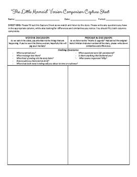 """""""The Little Mermaid"""" Version Comparison Capture Sheet"""