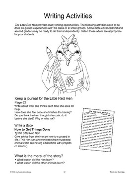 """""""The Little Red Hen"""": Writing Activities"""