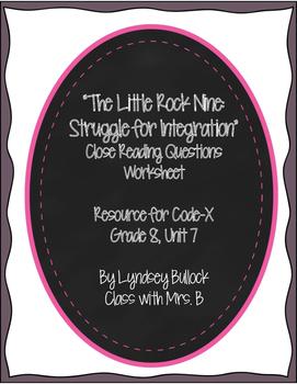"""The Little Rock Nine..."" Close Reading Worksheet for Code"