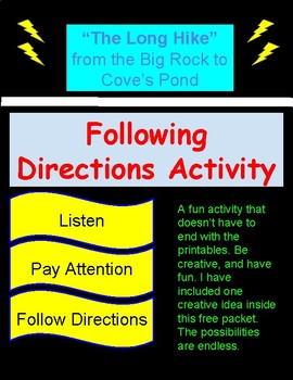 """Following Directions Activity (""""The Long Hike"""")"""