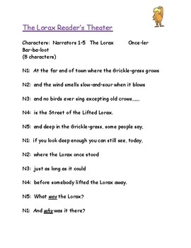 """""""The Lorax"""" Comprehension Packet"""