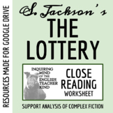 """The Lottery"" Close Reading Worksheet & Key"