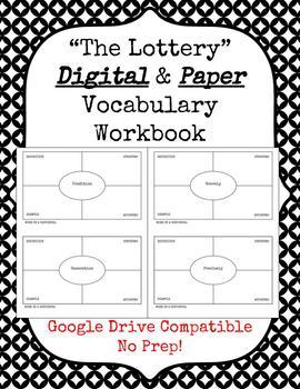 """The Lottery"" Digital & Paper Vocabulary Workbooks"