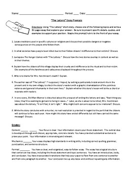 Personal Essay Examples High School The Lottery Essay Prompt And Detailed Rubric  Essay On Terrorism In English also Essay Topics For Research Paper The Lottery Essay Prompt And Detailed Rubric By Debbies Den  Tpt How To Write A Good Proposal Essay