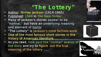 """""""The Lottery"""" Power Point Notes"""
