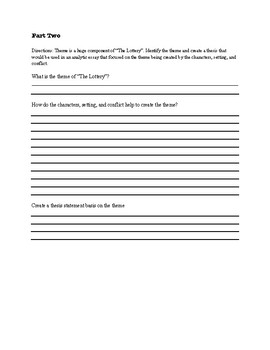 """""""The Lottery"""" Story Elements Worksheet"""