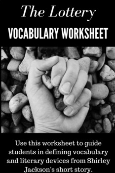 """The Lottery"" Vocabulary Worksheet"
