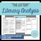 """The Lottery"" by Shirley Jackson Literary Analysis Graphic Organizers"