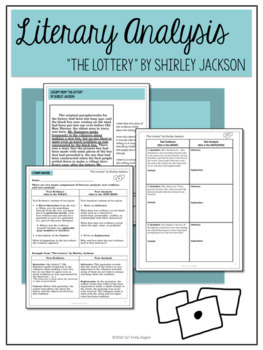 """""""The Lottery"""" by Shirley Jackson Literary Analysis Graphic Organizers"""