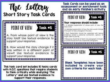 """The Lottery"" by Shirley Jackson Task Cards with EDITABLE Templates"