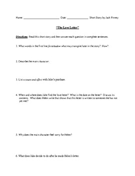 """""""The Love Letter"""" Worksheet or Assessment with Detailed Answer Key"""