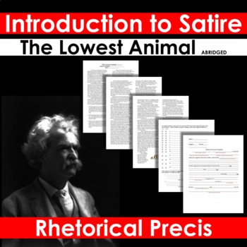 """Introduction to Satire Lesson - """"The Lowest Animal"""" by Mark Twain"""