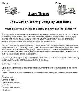 """""""The Luck of Roaring Camp"""" by Bret Harte Theme Worksheet"""