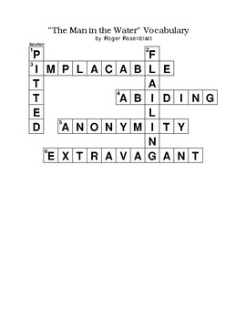 The Man In The Water Essay Vocabulary Crossword Puzzle No Bank Rosenblatt