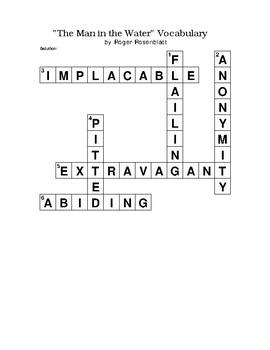 """""""The Man in the Water"""" Essay Vocabulary Crossword Puzzle WITH Bank (Rosenblatt)"""