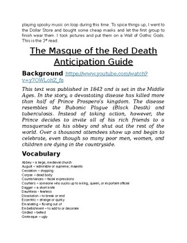 """The Masque of the Red Death"" Unmasked: 3-Day Close-Read, DBQs & Stations"