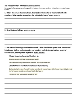 """""""The Miracle Worker"""" short answer questions"""