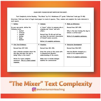 """""""The Mixer"""" Text Complexity Active Reading"""