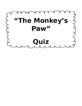 """""""The Monkey's Paw"""" Modified Quiz"""