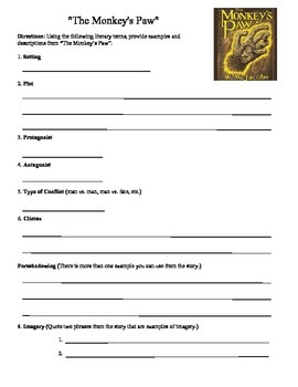 """""""The Monkey's Paw"""" Review Worksheet"""