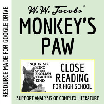 """The Monkey's Paw"" by W.W. Jacobs Close Reading Worksheet"