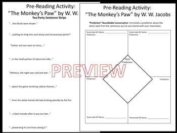 """The Monkey's Paw"" by W. W. Jacobs Pre-Reading Activities - Engaging"