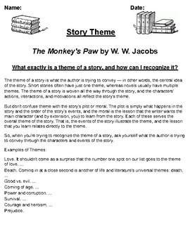 """""""The Monkey's Paw"""" by W. W. Jacobs Theme Worksheet"""