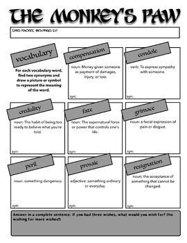 """The Monkey's Paw"" by WW Jacobs Activity Packet"