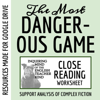 The Most Dangerous Game Close Reading Worksheet Key Tpt