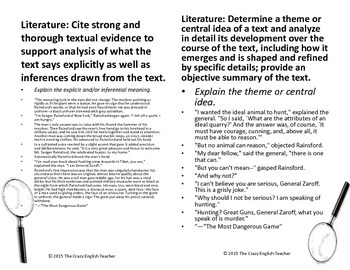 """""""The Most Dangerous Game"""" Literary Analysis Task Cards : CCSS : ELA 9-10"""