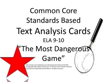 """""""The Most Dangerous Game"""" Literary Analysis Task Cards : C"""