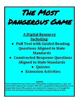 """""""The Most Dangerous Game"""" Digital Resource"""