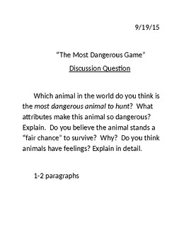 """The Most Dangerous Game"" Discussion Question"