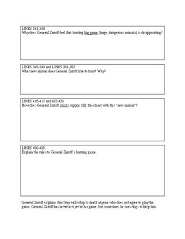 """The Most Dangerous Game""-- summary worksheet"