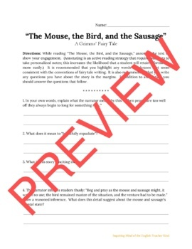 """The Mouse, the Bird, and the Sausage,"" a Grimms' Fairy Tale: Guided Reading"