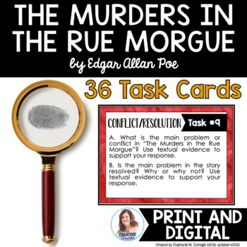 """The Murders in the Rue Morgue"" by Poe Task Cards with EDITABLE Templates"