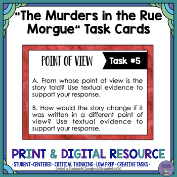 """""""The Murders in the Rue Morgue"""" by Poe Task Cards with EDI"""