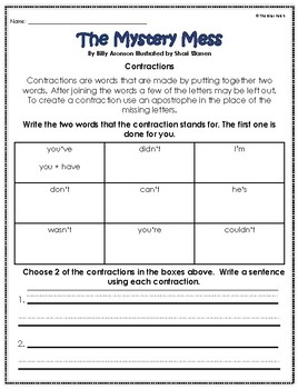 """""""The Mystery Mess"""" Activities for Reading, Writing, and Comprehension"""