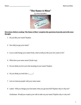 """The Name is Mine"" Comprehension Activity"