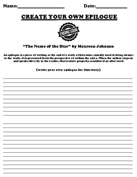 """""""The Name of the Star"""" by Maureen Johnson Epilogue Worksheet"""