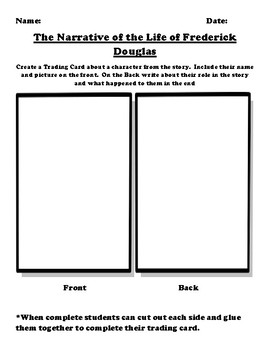 """""""The Narrative of the Life of Frederick Douglas"""" Trading Card Worksheet"""