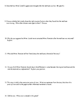 """""""The Necklace"""" Review Worksheet (or Test) and Comprehensive Answer Key"""